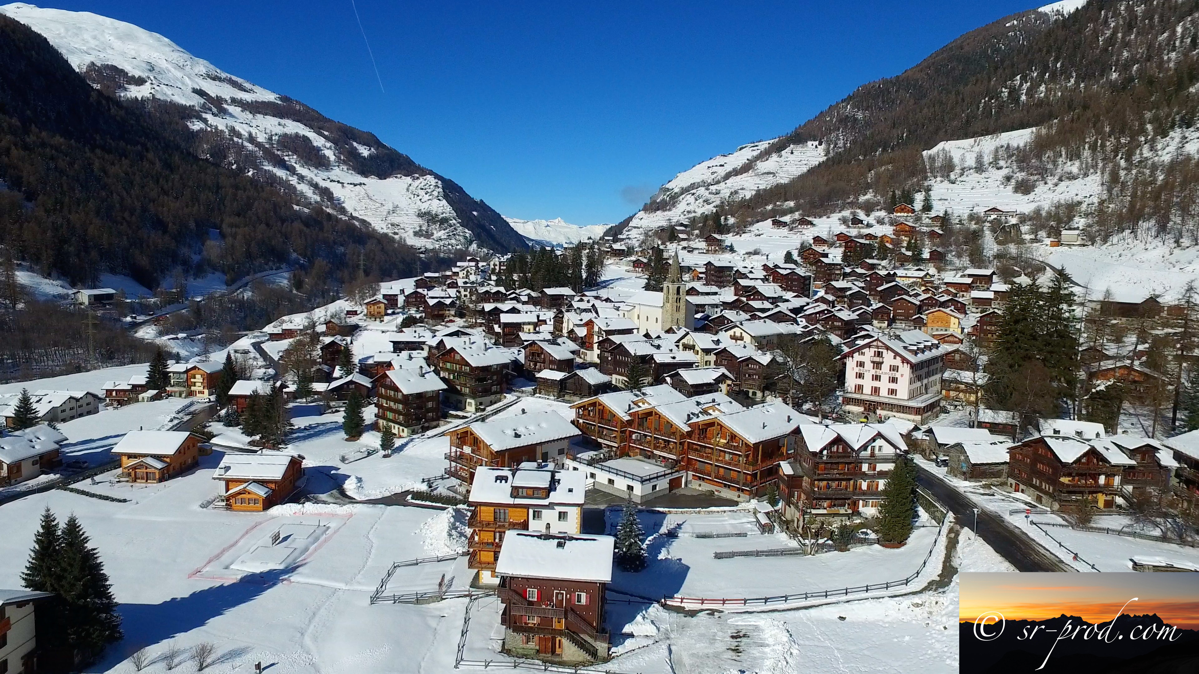 Stunning 4k drone views of the Val d'Hérens valley in winter